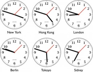 Six different clock showing time around the world