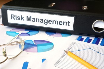 Graphs and file folder with label Risk Management.